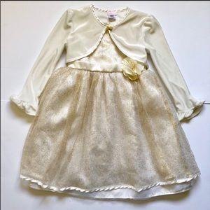 YOUNGLAND Gold & Cream girls dress size 5 A12
